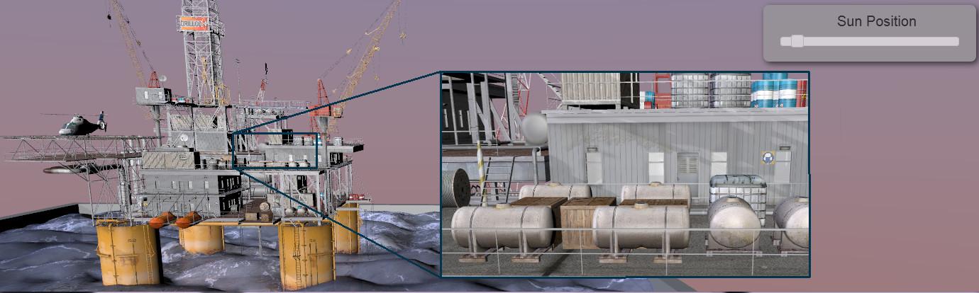 Large Streaming Oil Rig Model