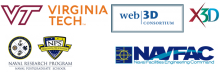 Virginia Tech (VT), Web3D Consortium, X3D Graphics, NPS Naval Research Program (NRP), NAVFAC logos
